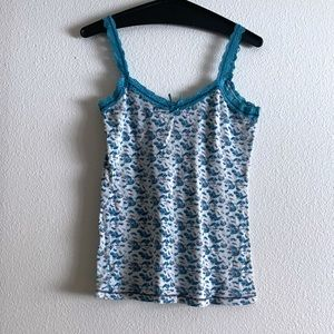 American Rag Blue White Floral Basic Cami